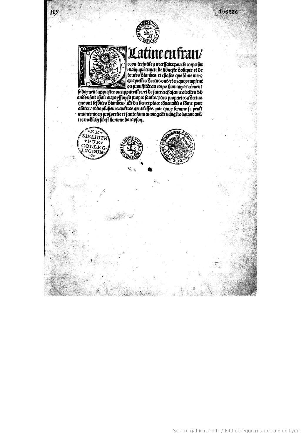 『フランス語版プラティナ』1505年版の1ページ目