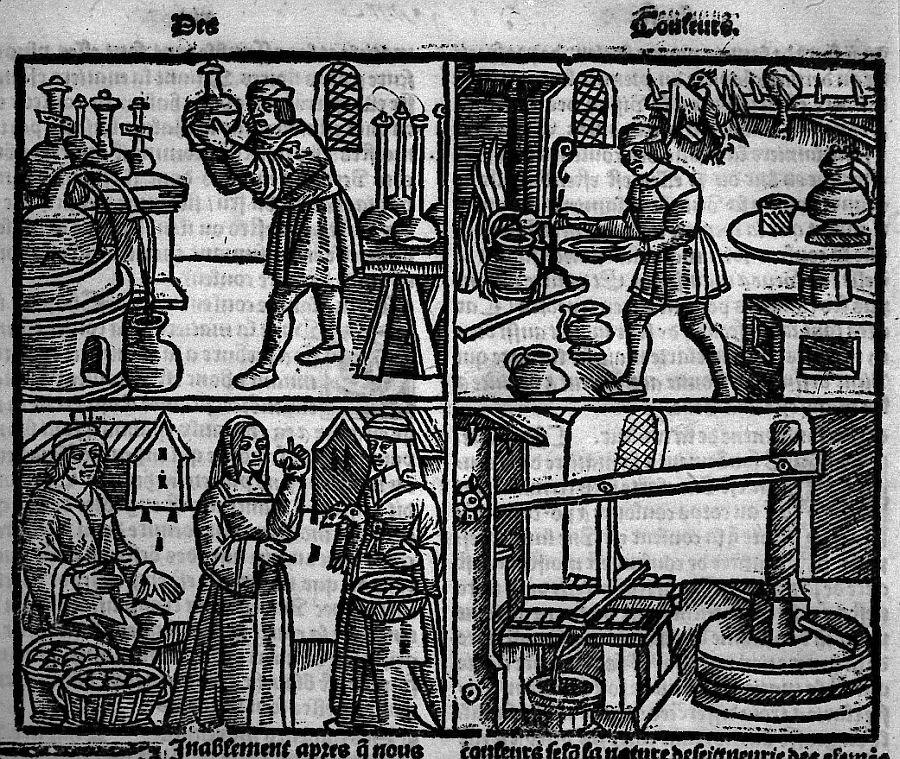 ゴドゥルが刊行した本の挿絵(注、タイユヴァンではない)。化学、厨房、市場、圧搾機